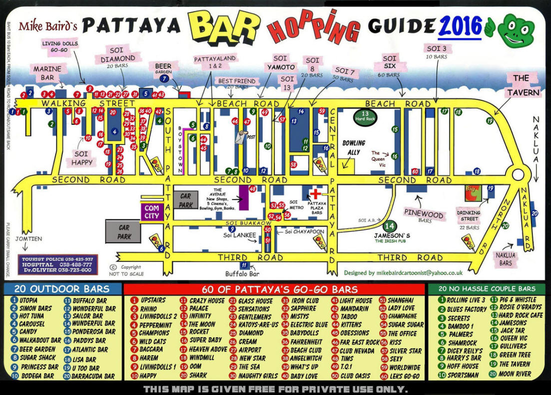 Pattaya bar hopping map guide