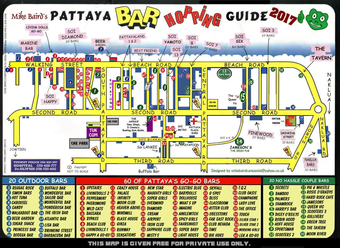 Pattaya bar hopping map